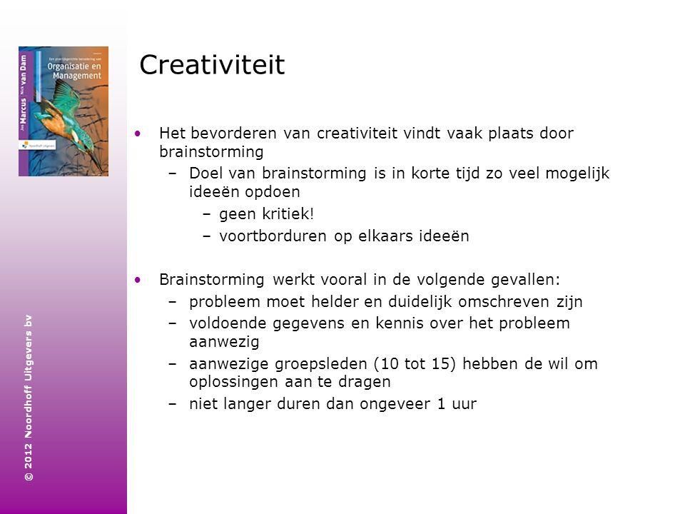 Creativiteit Het bevorderen van creativiteit vindt vaak plaats door brainstorming.