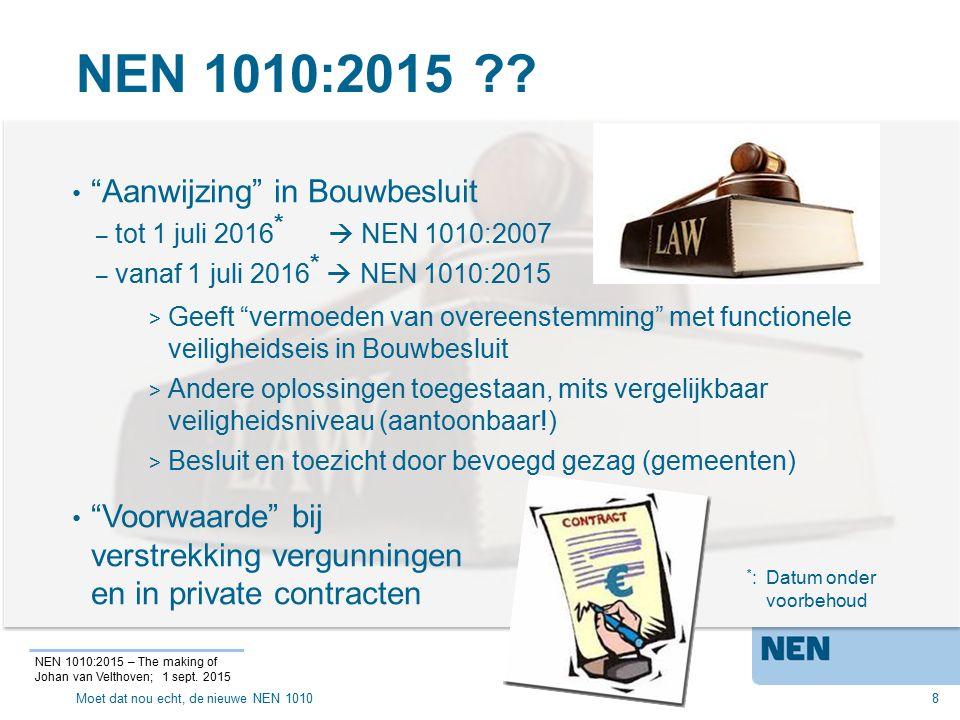 NEN 1010:2015 Aanwijzing in Bouwbesluit