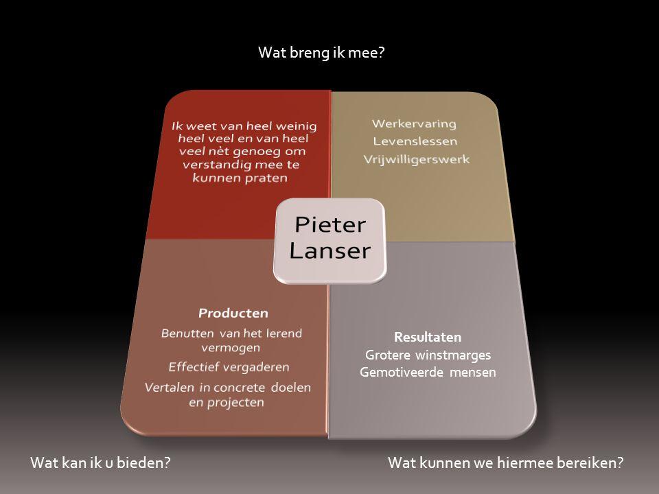 Pieter Lanser Ik weet van heel weinig heel veel en van heel veel nèt genoeg om verstandig mee te kunnen praten.