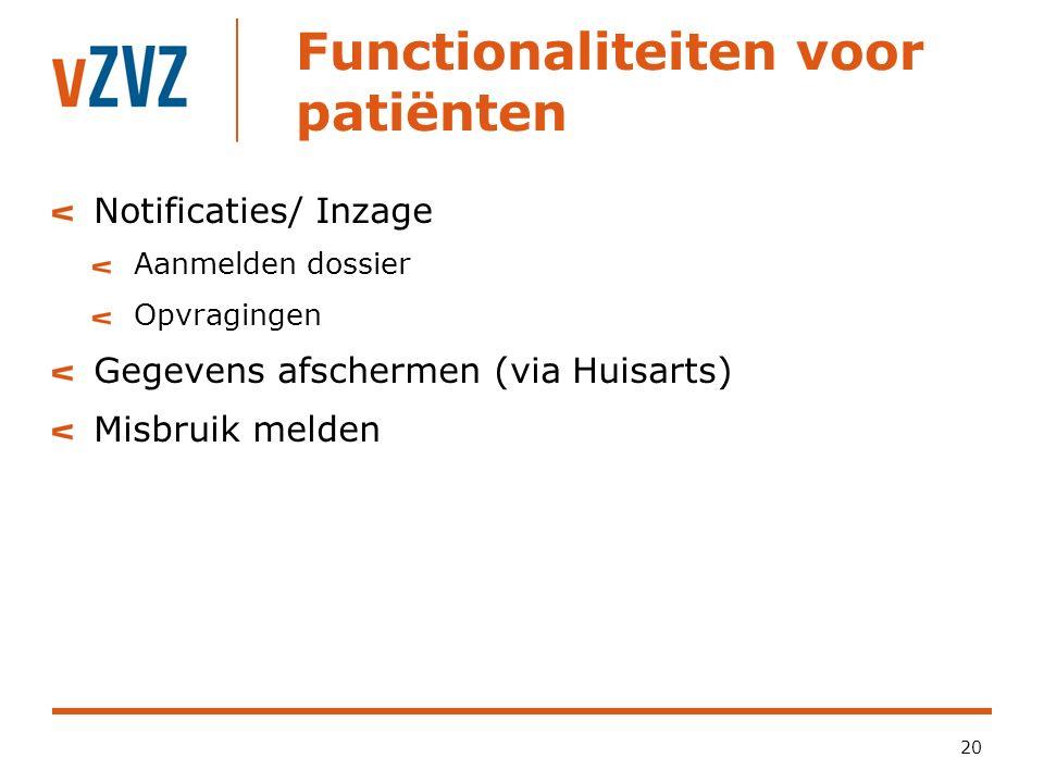 Functionaliteiten voor patiënten