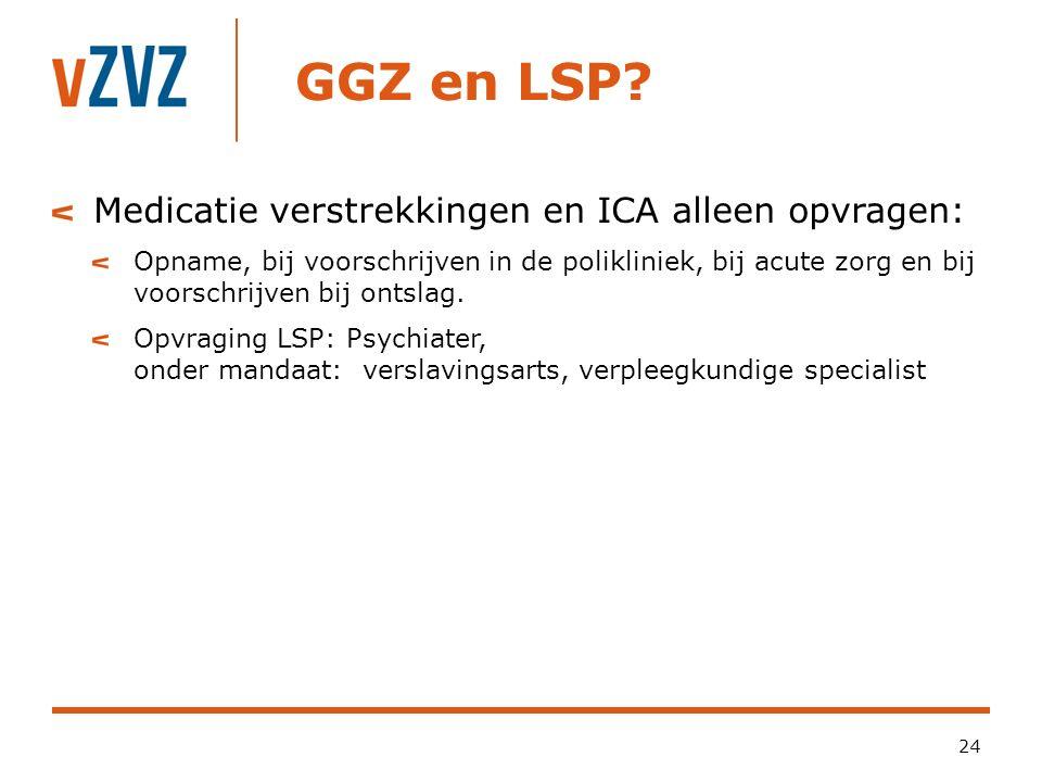 GGZ en LSP Medicatie verstrekkingen en ICA alleen opvragen: