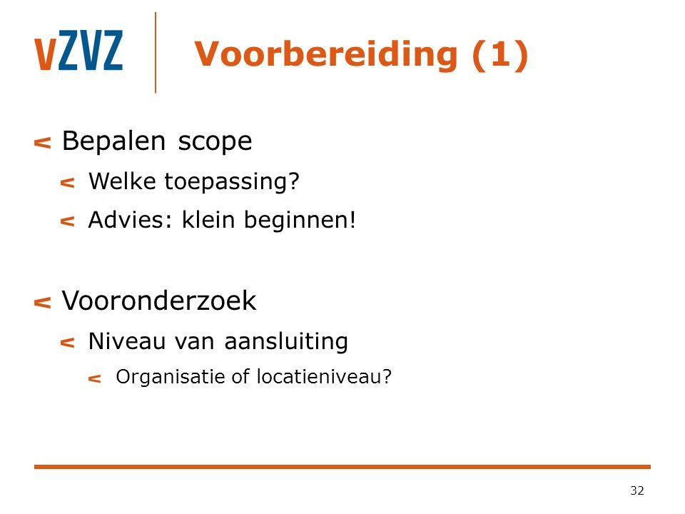 Voorbereiding (1) Bepalen scope Vooronderzoek Welke toepassing