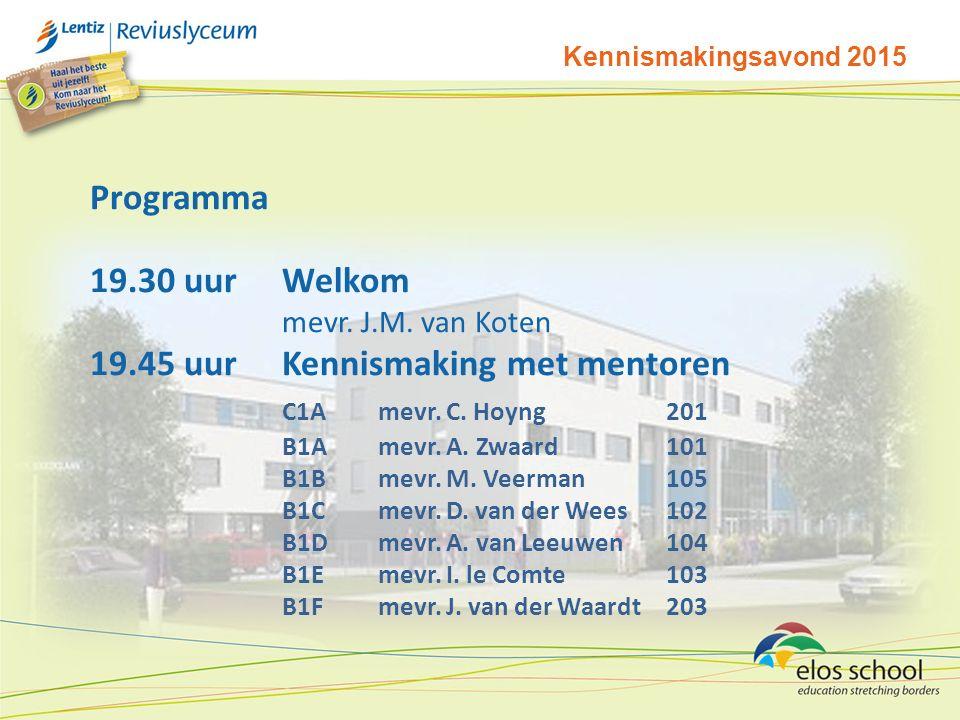 19.45 uur Kennismaking met mentoren C1A mevr. C. Hoyng 201