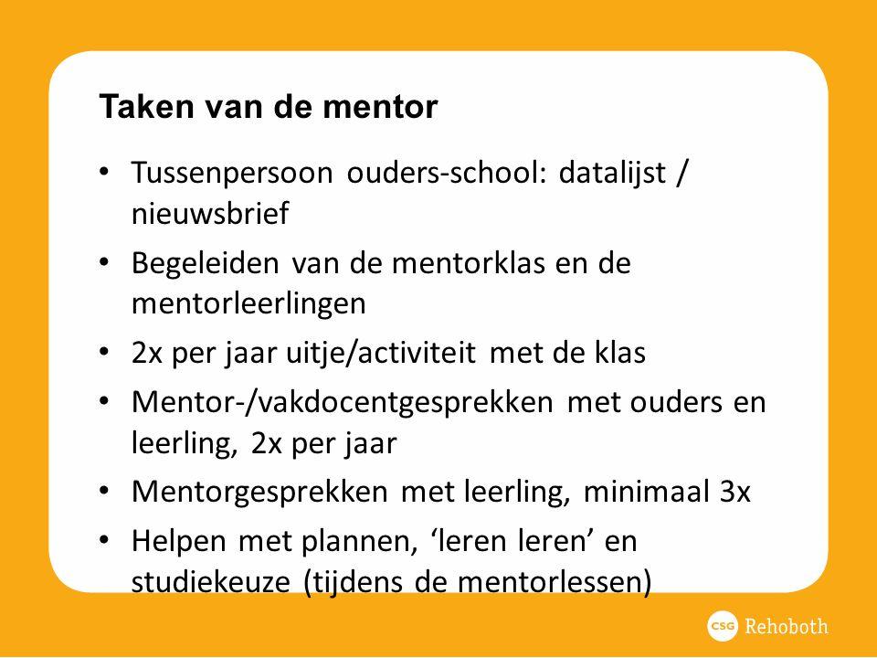 Taken van de mentor Tussenpersoon ouders-school: datalijst / nieuwsbrief. Begeleiden van de mentorklas en de mentorleerlingen.