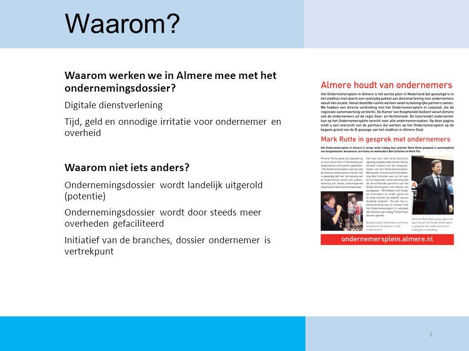 Waarom Waarom werken we in Almere mee met het ondernemingsdossier