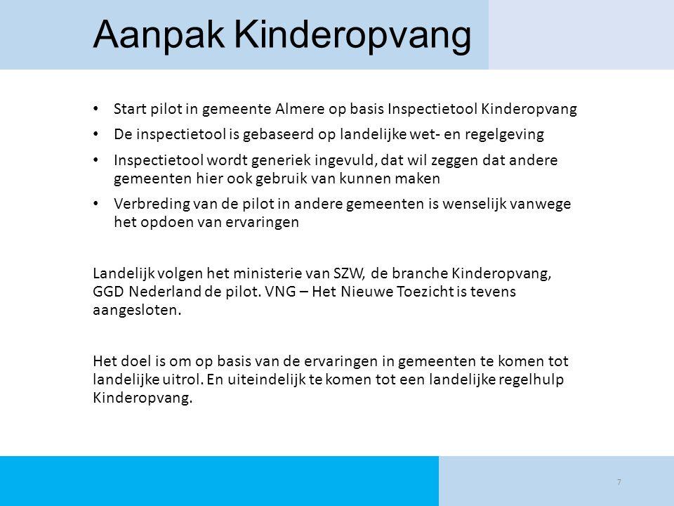 Aanpak Kinderopvang Start pilot in gemeente Almere op basis Inspectietool Kinderopvang.