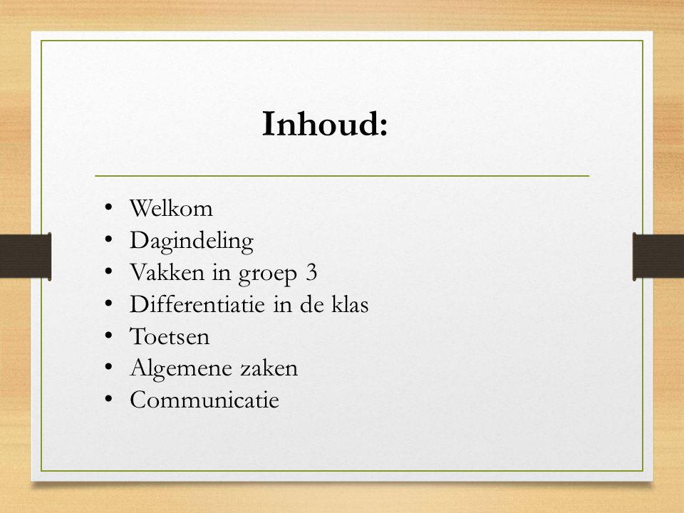 Inhoud: Welkom Dagindeling Vakken in groep 3 Differentiatie in de klas