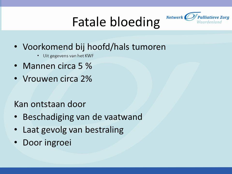 Fatale bloeding Voorkomend bij hoofd/hals tumoren Mannen circa 5 %