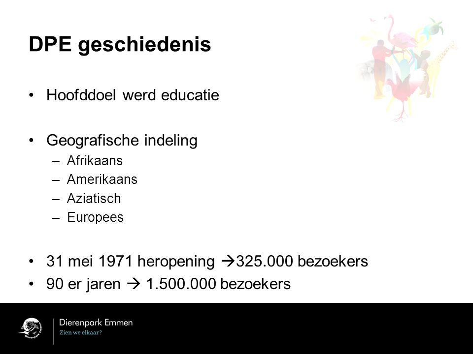 DPE geschiedenis Hoofddoel werd educatie Geografische indeling
