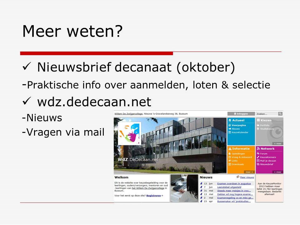 Meer weten Nieuwsbrief decanaat (oktober) wdz.dedecaan.net