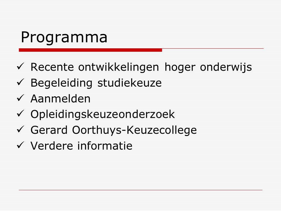Programma Recente ontwikkelingen hoger onderwijs