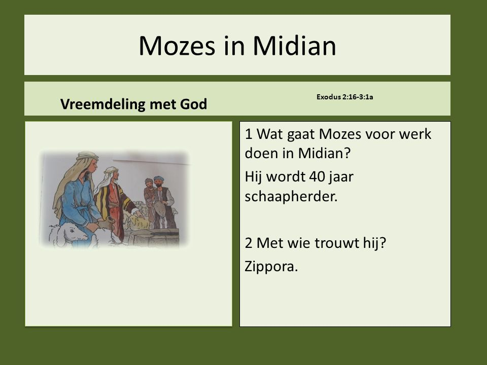 Mozes in Midian Vreemdeling met God