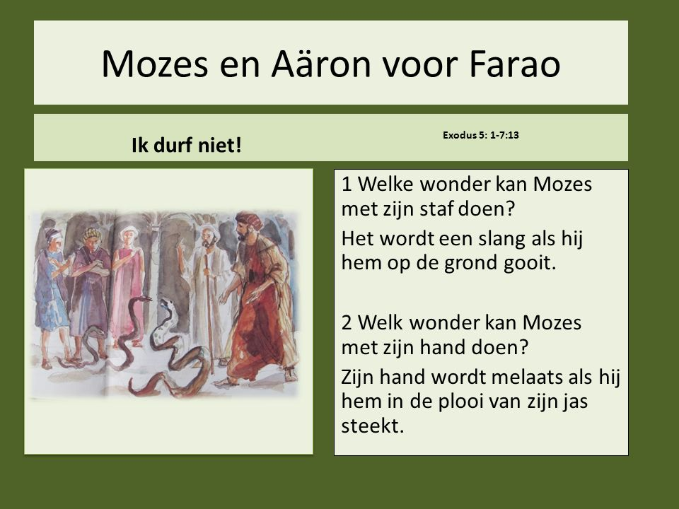 Mozes en Aäron voor Farao