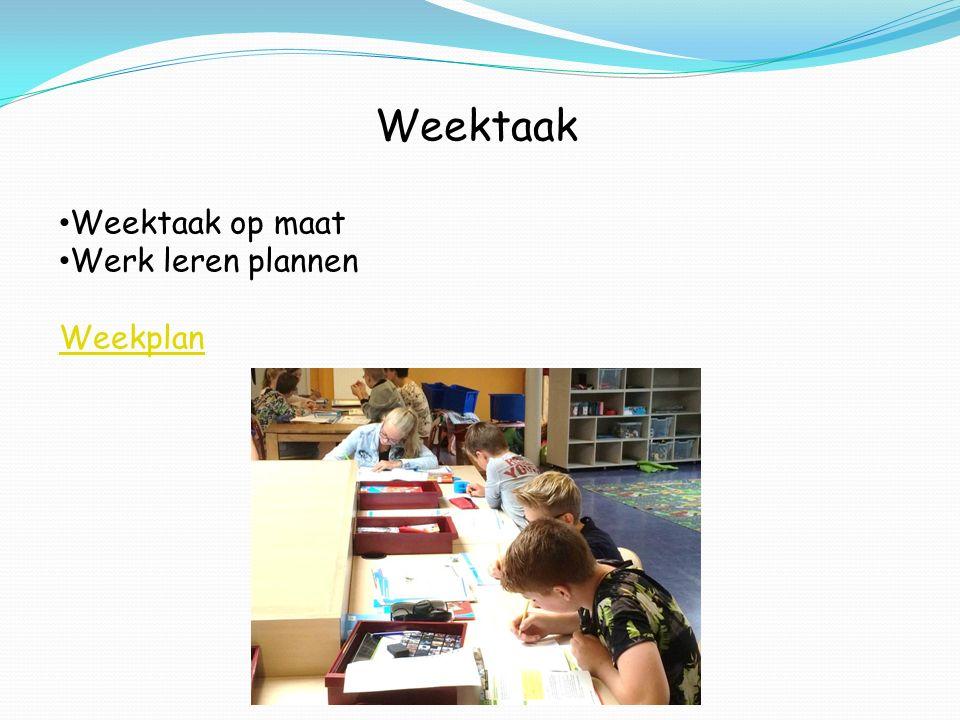 Weektaak Weektaak op maat Werk leren plannen Weekplan