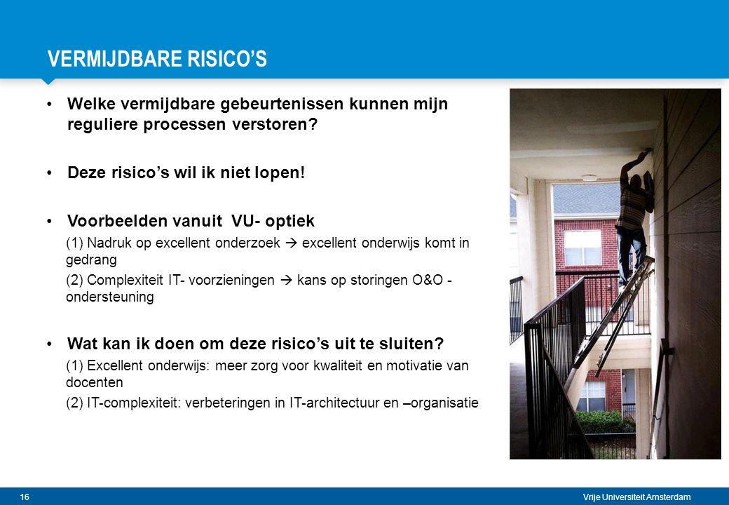VERMIJDBARE RISICO's Welke vermijdbare gebeurtenissen kunnen mijn reguliere processen verstoren Deze risico's wil ik niet lopen!