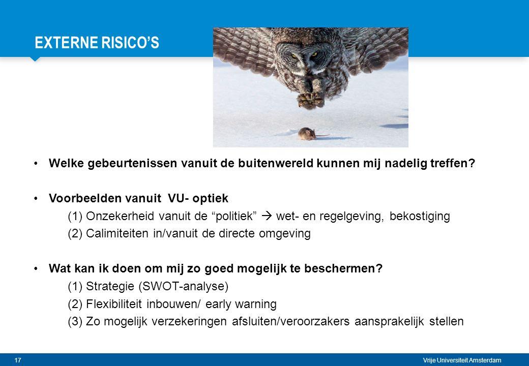 EXTERNE RISICO's Welke gebeurtenissen vanuit de buitenwereld kunnen mij nadelig treffen Voorbeelden vanuit VU- optiek.