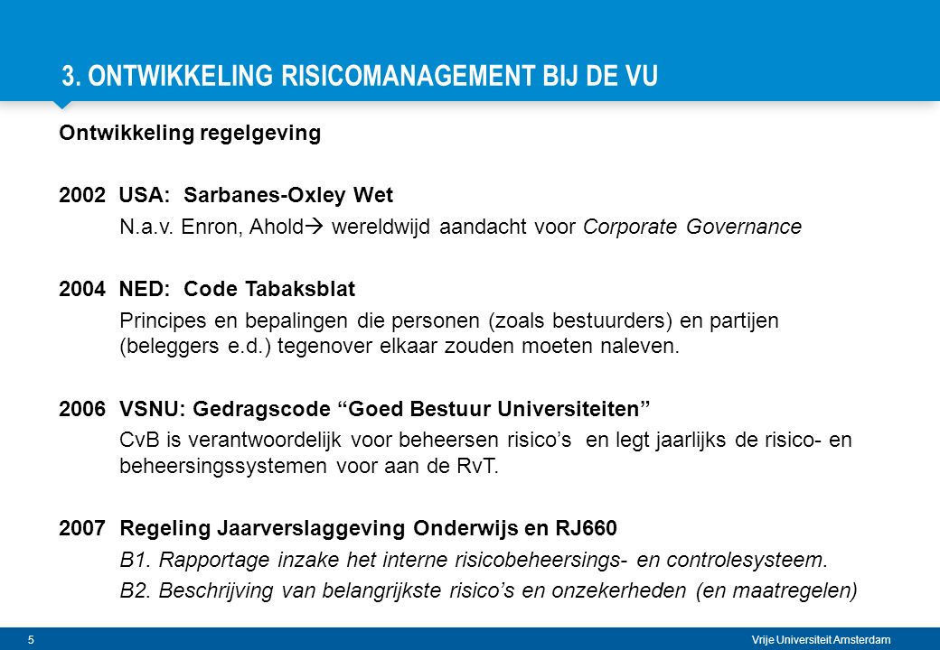 3. Ontwikkeling Risicomanagement BIJ DE VU