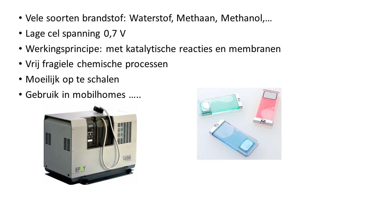 Vele soorten brandstof: Waterstof, Methaan, Methanol,…