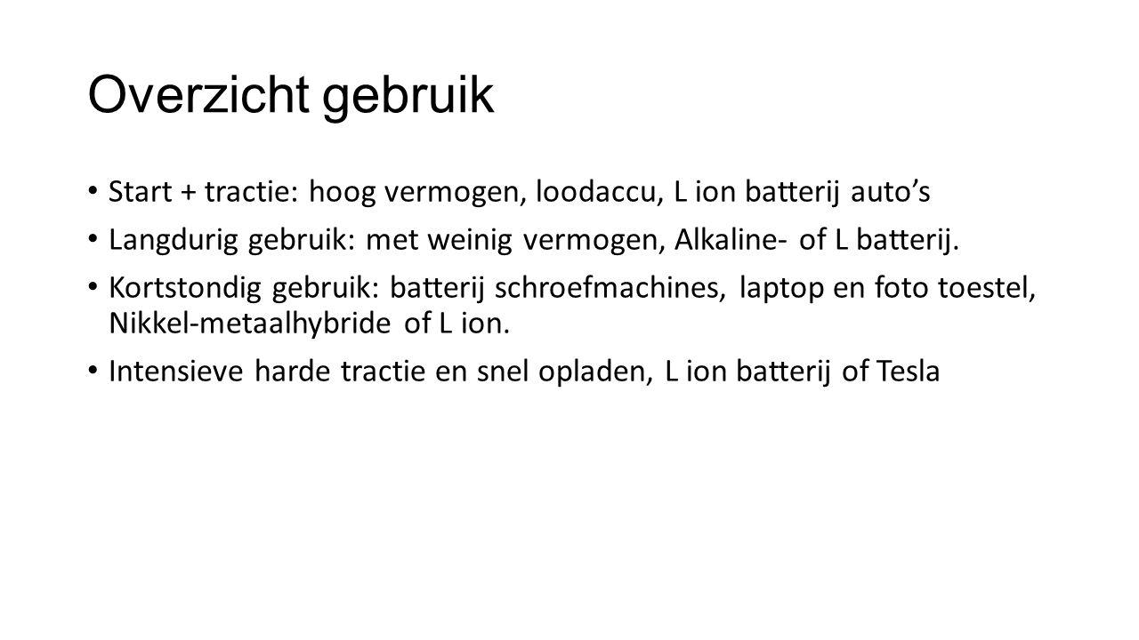 Overzicht gebruik Start + tractie: hoog vermogen, loodaccu, L ion batterij auto's. Langdurig gebruik: met weinig vermogen, Alkaline- of L batterij.