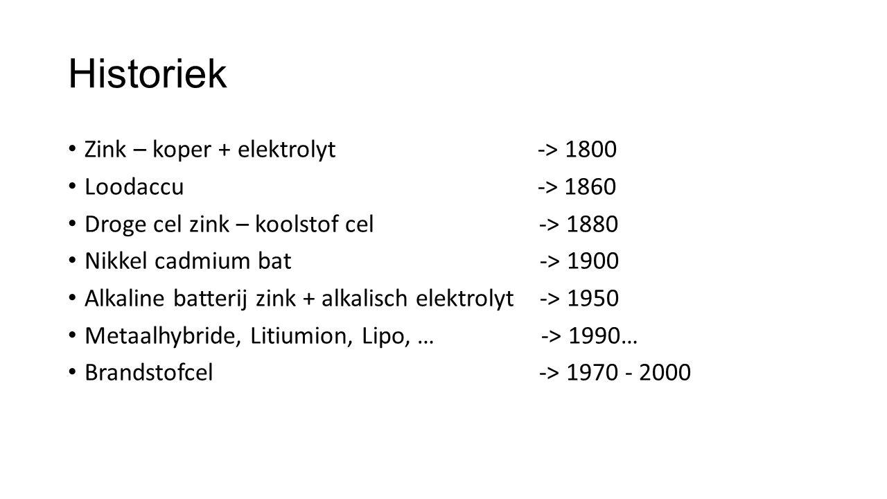 Historiek Zink – koper + elektrolyt -> 1800 Loodaccu -> 1860