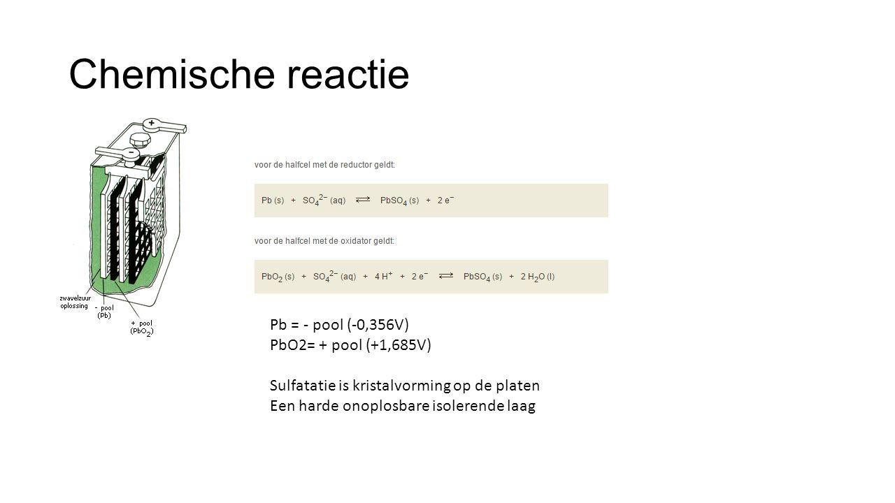 Chemische reactie Pb = - pool (-0,356V) PbO2= + pool (+1,685V)