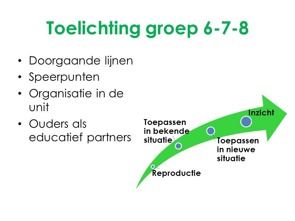 Toelichting groep 6-7-8 Doorgaande lijnen Speerpunten