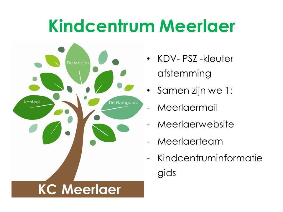 Kindcentrum Meerlaer KDV- PSZ -kleuter afstemming Samen zijn we 1: