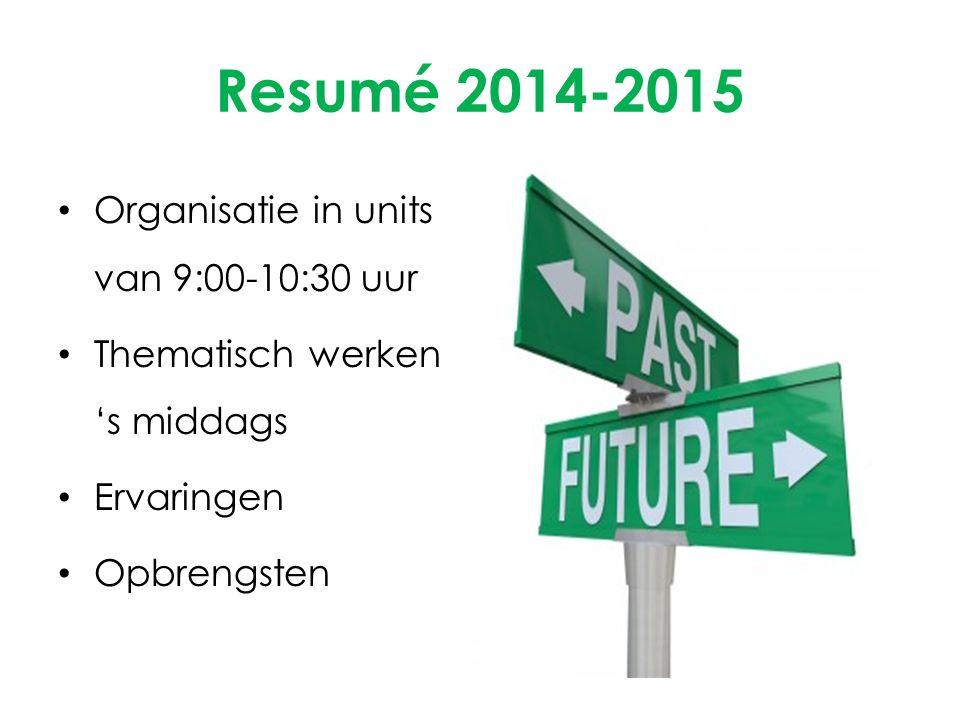 Resumé 2014-2015 Organisatie in units van 9:00-10:30 uur
