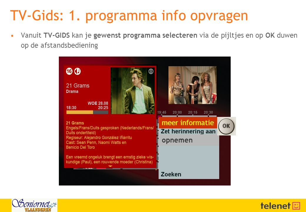 TV-Gids: 1. programma info opvragen