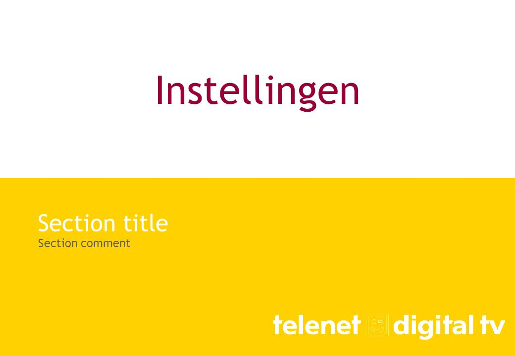 Instellingen Section title Section comment