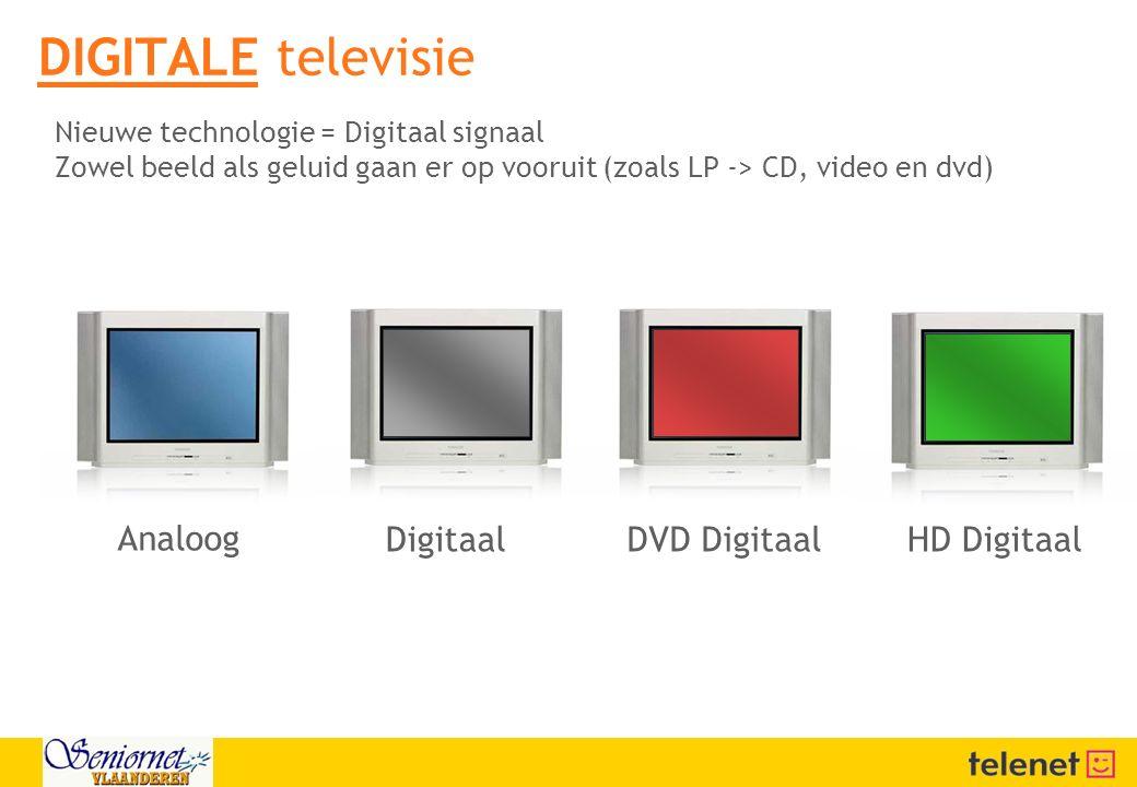 DIGITALE televisie Analoog Digitaal DVD Digitaal HD Digitaal