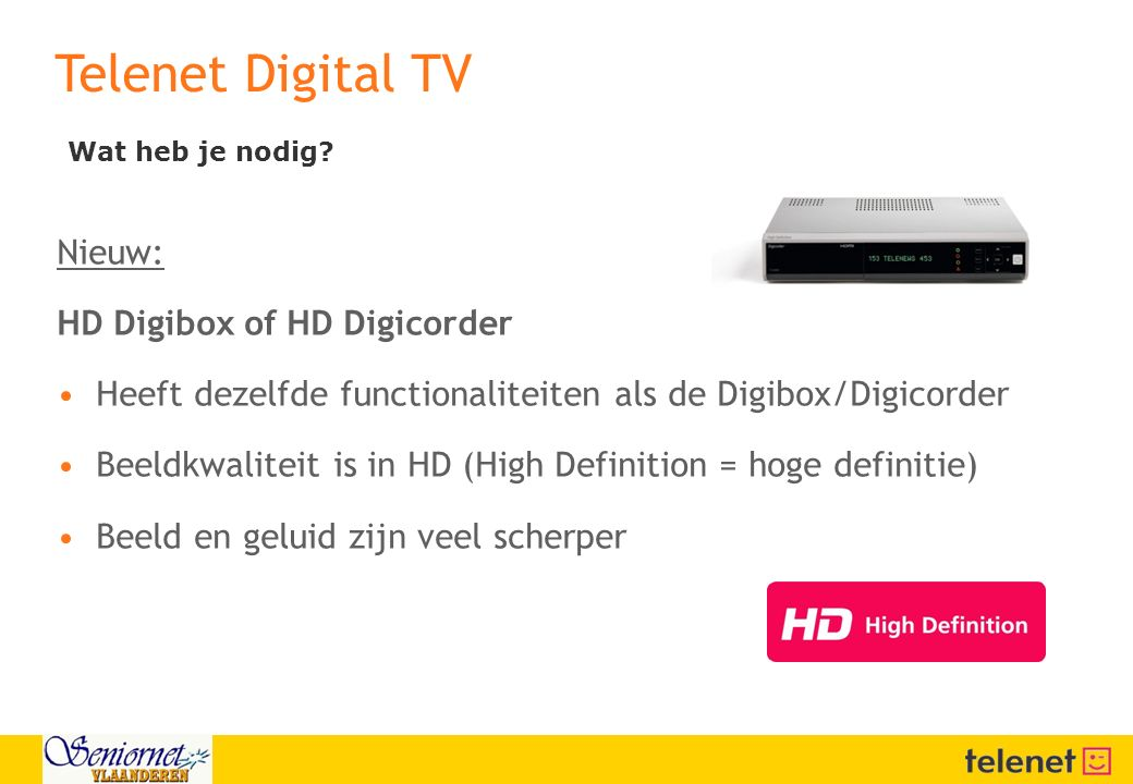 Telenet Digital TV Nieuw: HD Digibox of HD Digicorder