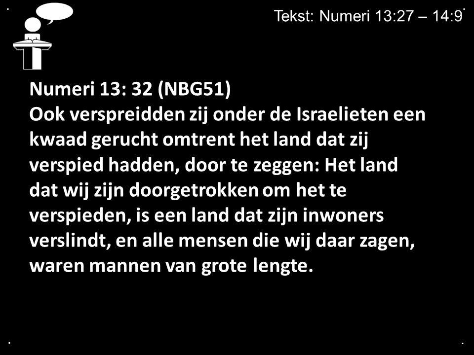 . . Tekst: Numeri 13:27 – 14:9. Numeri 13: 32 (NBG51)