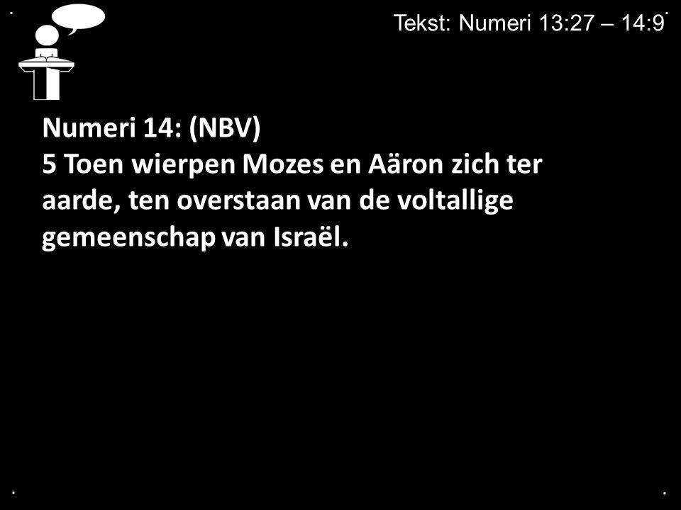 . . Tekst: Numeri 13:27 – 14:9. Numeri 14: (NBV)