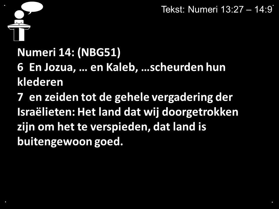 6 En Jozua, … en Kaleb, …scheurden hun klederen