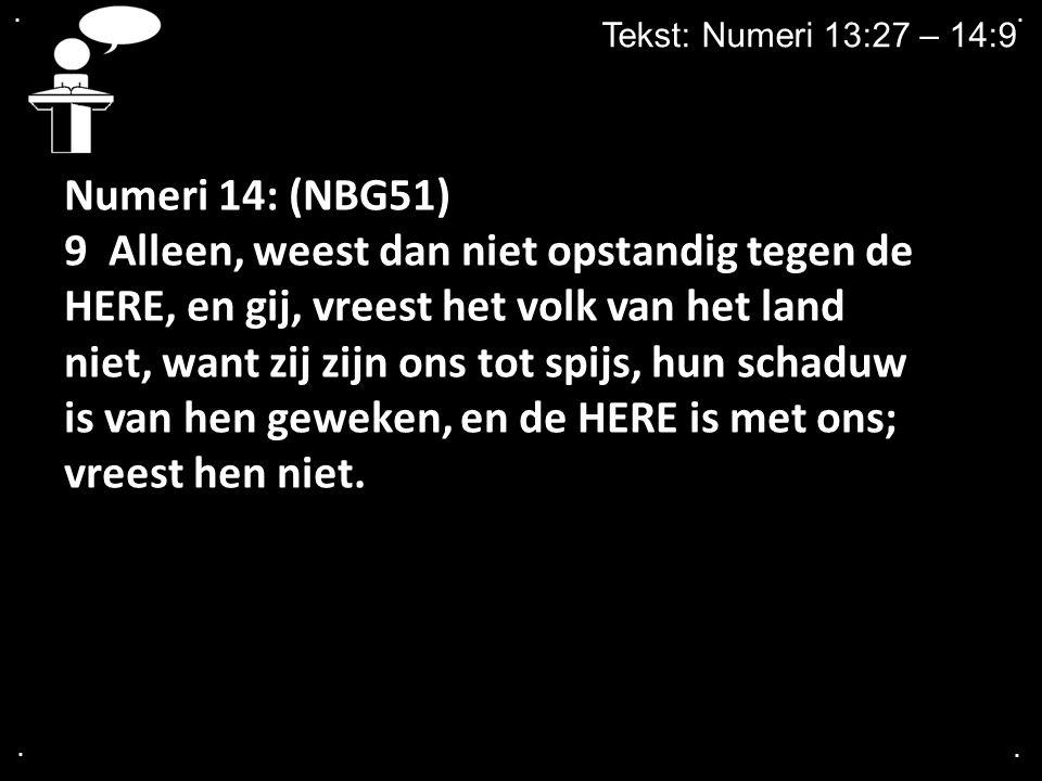 . . Tekst: Numeri 13:27 – 14:9. Numeri 14: (NBG51)