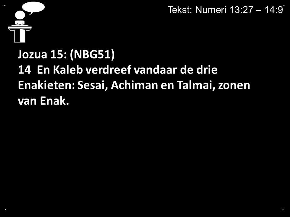 . . Tekst: Numeri 13:27 – 14:9. Jozua 15: (NBG51) 14 En Kaleb verdreef vandaar de drie Enakieten: Sesai, Achiman en Talmai, zonen van Enak.