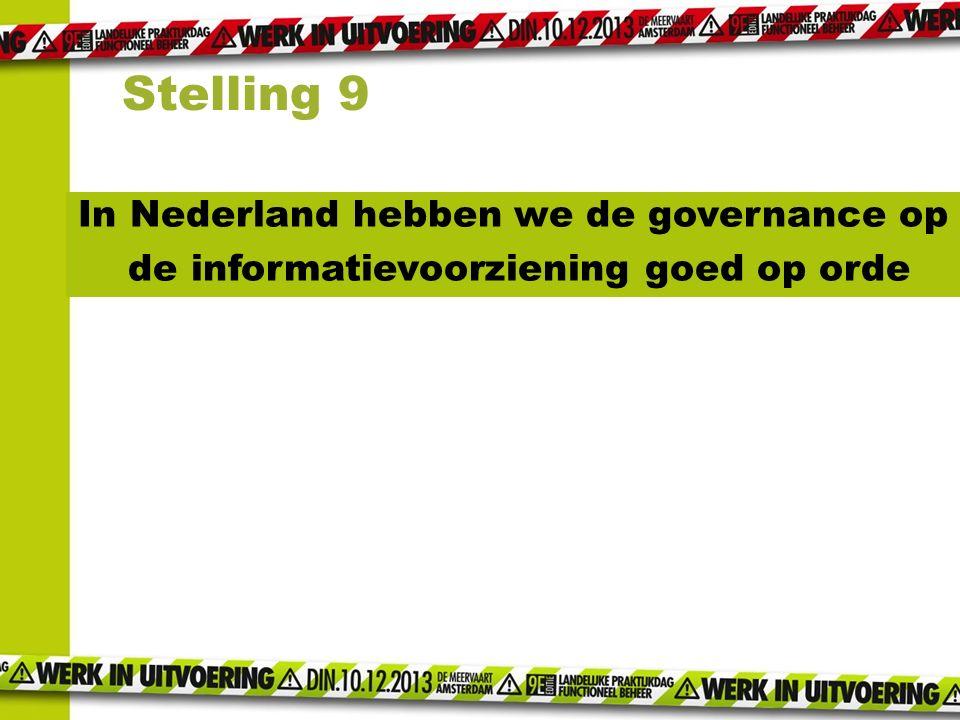Stelling 9 In Nederland hebben we de governance op de informatievoorziening goed op orde