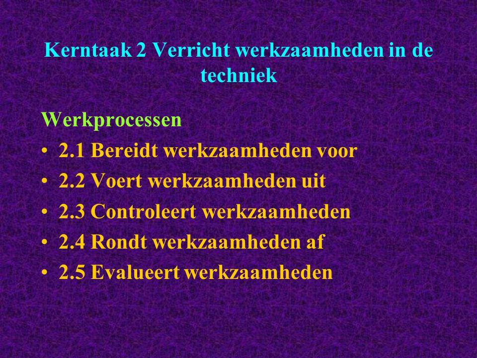 Kerntaak 2 Verricht werkzaamheden in de techniek