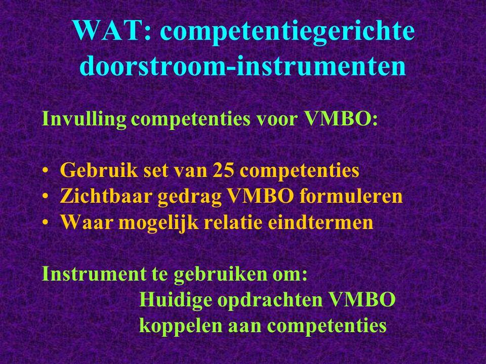 WAT: competentiegerichte doorstroom-instrumenten