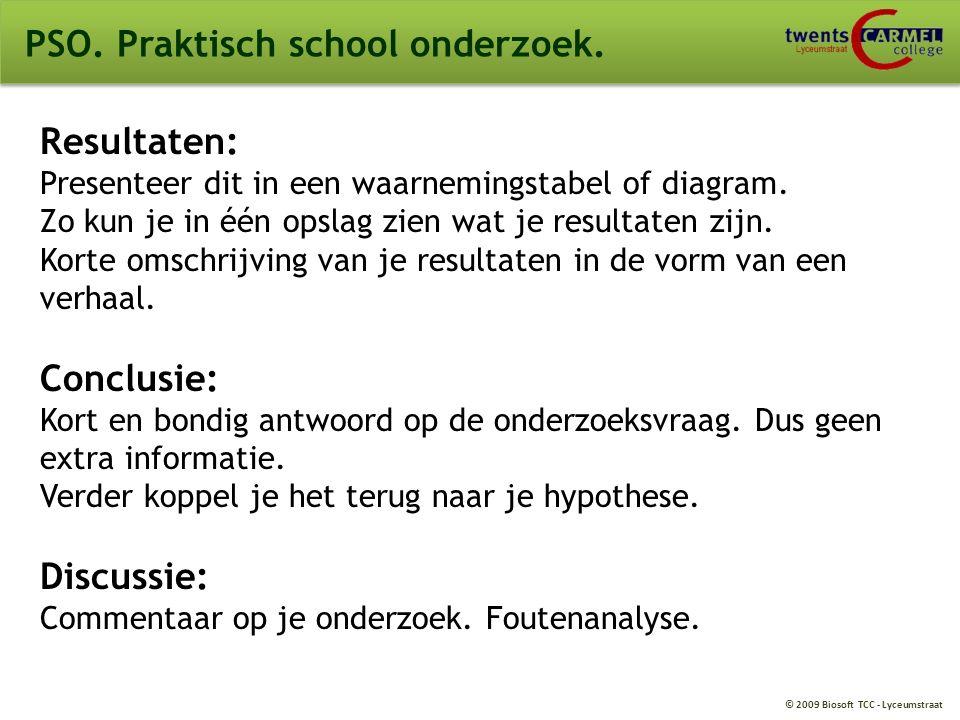 PSO. Praktisch school onderzoek.