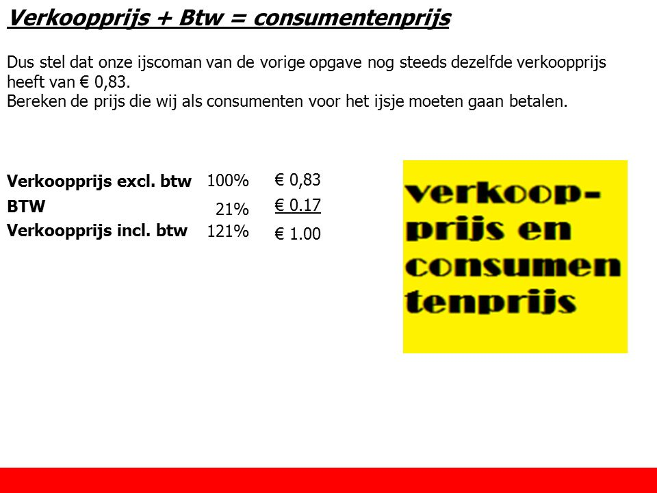 Verkoopprijs + Btw = consumentenprijs