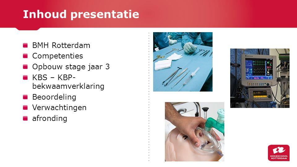 Inhoud presentatie BMH Rotterdam Competenties Opbouw stage jaar 3