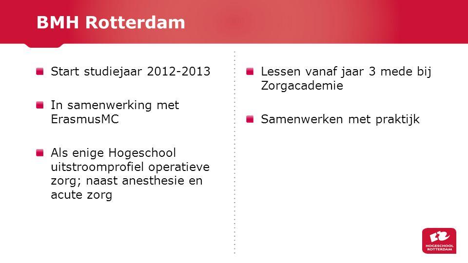 BMH Rotterdam Start studiejaar 2012-2013 In samenwerking met ErasmusMC