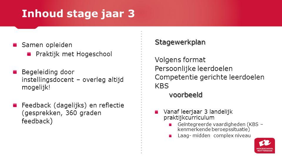 Inhoud stage jaar 3 Stagewerkplan Volgens format