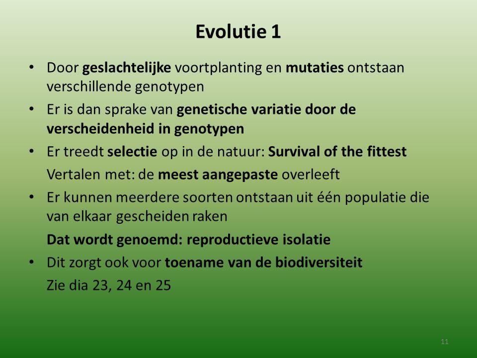 Evolutie 1 Door geslachtelijke voortplanting en mutaties ontstaan verschillende genotypen.