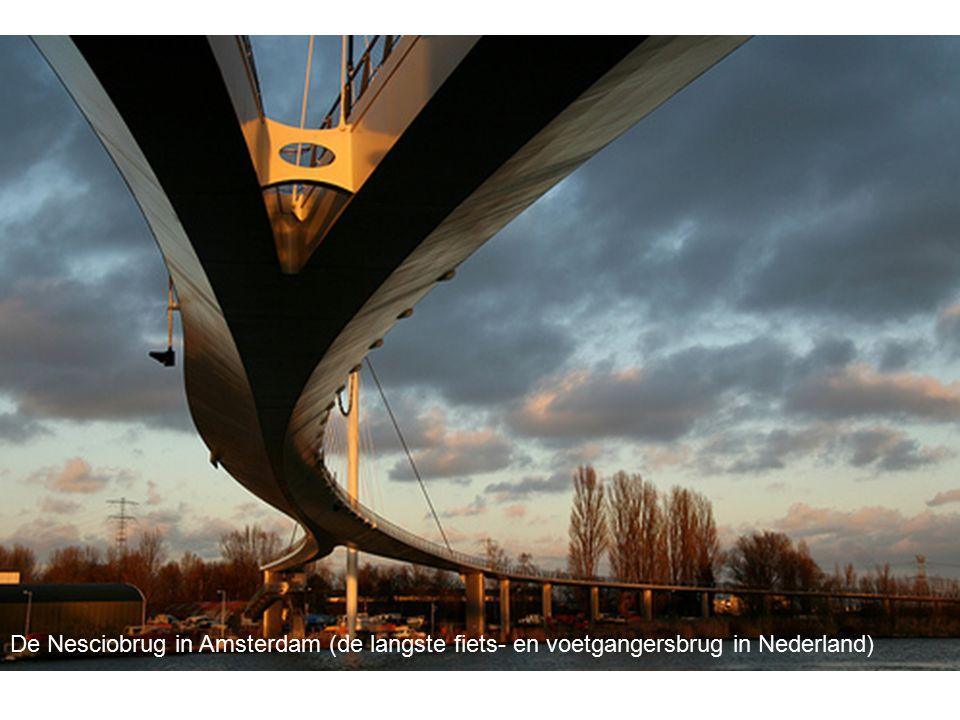 De Nesciobrug in Amsterdam (de langste fiets- en voetgangersbrug in Nederland)