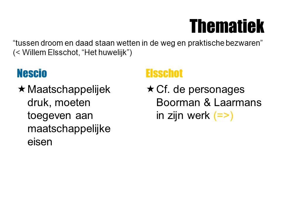 Thematiek tussen droom en daad staan wetten in de weg en praktische bezwaren (< Willem Elsschot, Het huwelijk )