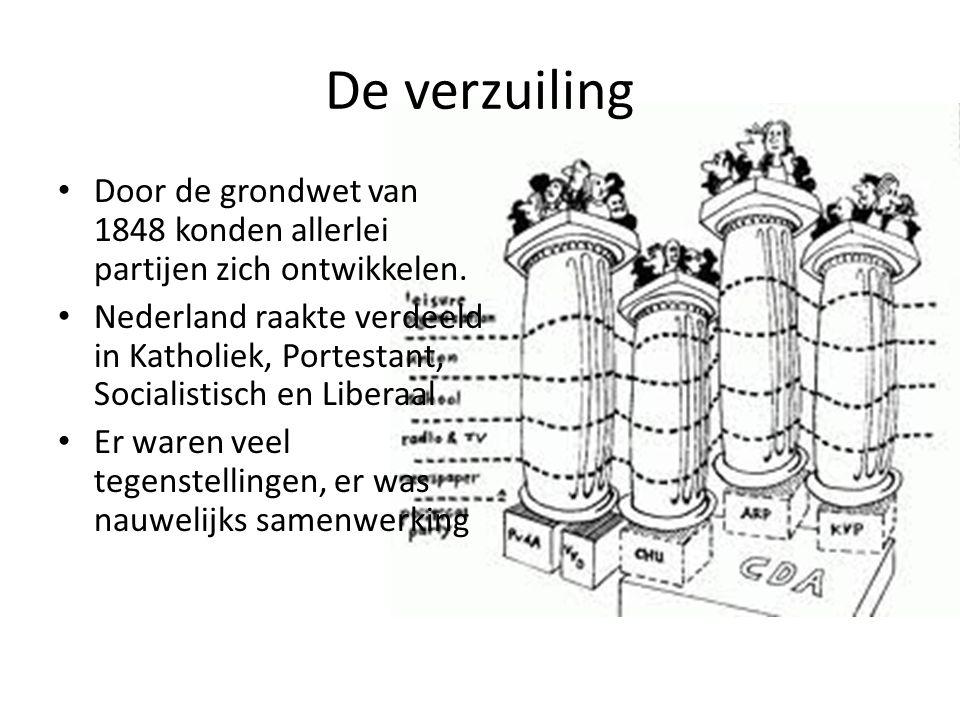 De verzuiling Door de grondwet van 1848 konden allerlei partijen zich ontwikkelen.