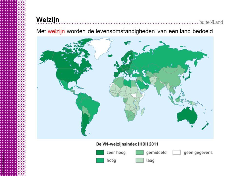 Welzijn Met welzijn worden de levensomstandigheden van een land bedoeld. VN-welzijnsindex is dus. combinatie van: